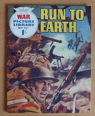 """WAR PICTURE LIBRARY # 367 """"Run to Earth"""" issued December 1966 VG / Excellent."""