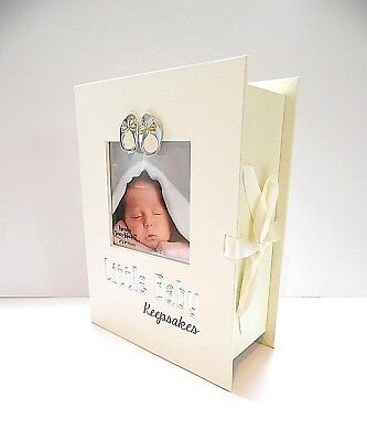 BABY/CHRISTENING GIFT - BOOK STYLE KEEPSAKE BOX with 4 DRAWERS & PHOTO FRONT-NEW