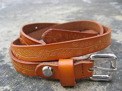 M/L - New Skinny Brown Tan Leather Belt womens with solid silver metal buckle