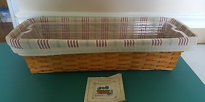Longaberger 2002 CLASSIC WINDOW BOX BASKET Awning Stripe Liner 2 Protectors