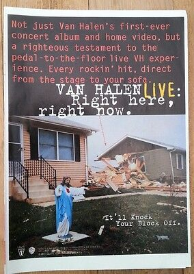 VAN HALEN 'LIVE right here' magazine ADVERT / Poster 11x8 inches