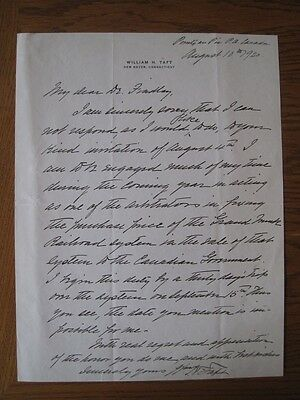 President William Howard Taft Autographed Letter Signed August 10,1920