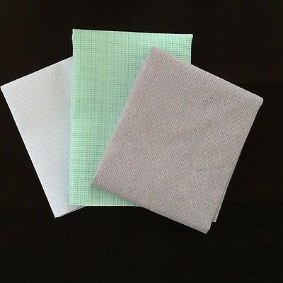 14ct AIDA CROSS STITCH FABRIC COLOURS IN LILAC WHITE - LILAC - SEA GREEN