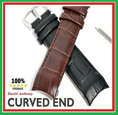 GENTS/MENS REAL CALF LEATHER WATCH STRAP Crocodile Grain, CURVE, CURVED ENDS CE