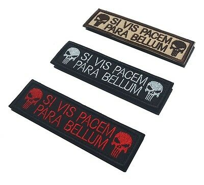New Punisher Skull SI VIS PACEM PARA BELLUM Embroidered Patches Military Armband