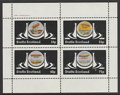 GB Locals - Staffa 5042 - 1982  AIRSHIPS  perf sheetlet of 4 unmounted  mint