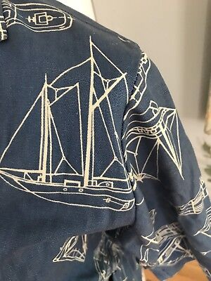 VINTAGE PADDLE SADDLE 1958 NAUTICAL SAILBOAT SHIRT JACKET Duck Cotton