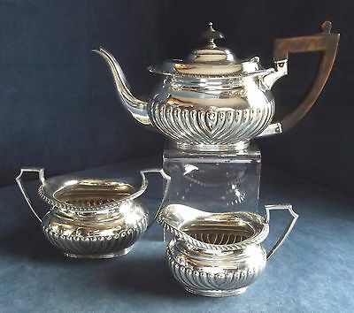 SUPERB ~ GEORGIAN Style ~ SILVER Plated ~ Bulbous TEA SET ~ c1900