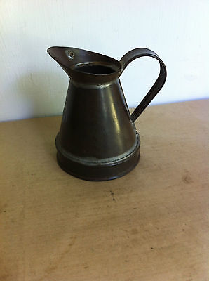 NICE DECORATIVE ANTIQUE TINWARE HALF PINT JUG 4.9 inches