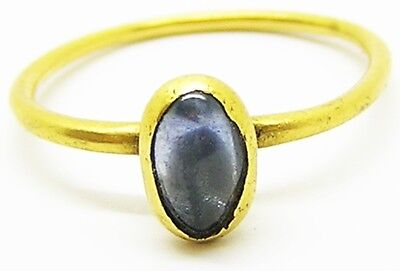 Fabulous Medieval Gold & Sapphire Finger Ring c. 13th - 14th century AD Size 7