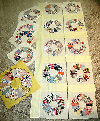 36 Vintage Old Hand Stitched Dresden Plate Quilt Pieces