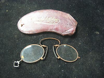 Antique Bonschur Holmes Hand Held Wire Frame Spectacles Glasses Steam Punk