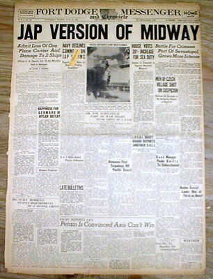 1942 WW II headline newspaper JAPANESE give their view of NAVY BATTLE of MIDWAY