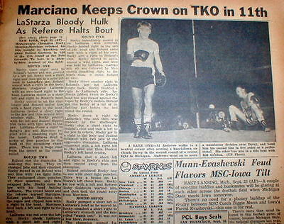 2 1953 newspapers Rocky Marciano beats LaStarza  HEAVYWEIGHT BOXING CHAMPIONSHIP