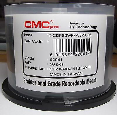 "Cmc Pro ""powered By Ty"" White Watershield Printable 48X Cd-R - 5 Pack"
