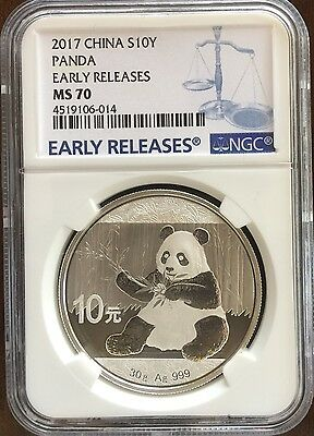 2017 China Silver Panda 10 Yuan (10Y), 1 oz Silver, Early Releases, NGC MS70