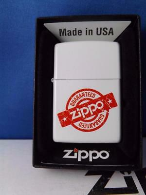 Zippo Lighter Guaranteed Vintage Advertising Design Red White Sealed New