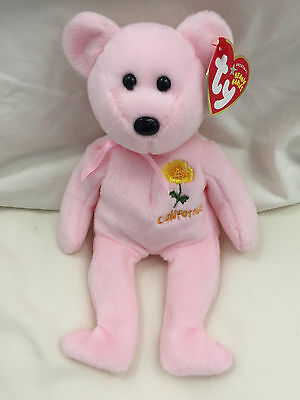 Brand new! Pink Califonia Poppy CA Exclusive TY Beanie Babies RETIRED! w/ tags