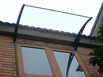 Byron Window Awning Door Canopy  1.2 x 0.8m Premium Clear Cover- Black Brackets
