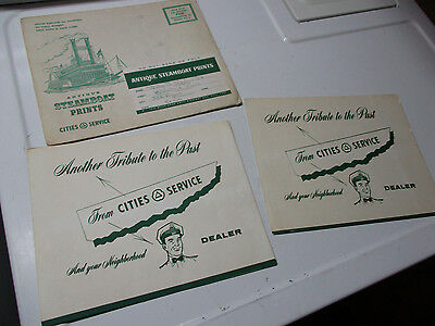 1950's Cities Service Antique Steamboat Ship Prints 2 Sets w/ Mailing Envelope