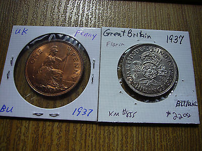 Great Britain UK British Type Coins 1937 Silver Florin and Penny Both BU UNC!