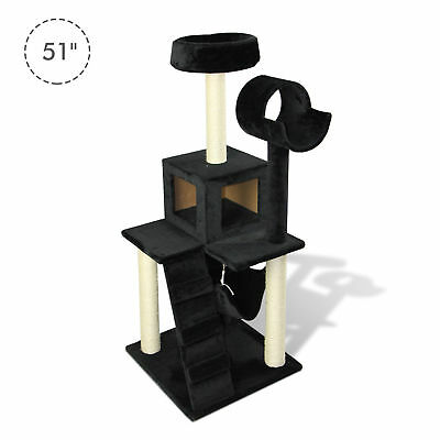 """51""""H Cat Tree Scratching Multi-level Tower Kitten Condo Play House Black"""