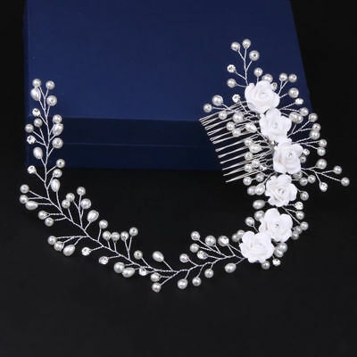 Flowers Pearl Wedding Bridal Headpiece Headdress Hair Tiara Hairpin Prom Party
