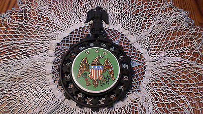 Vintage  Cast Iron w  Porcelain Tile American Eagle Trivet/Wall Plaque