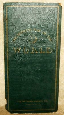 """Circa 1900 National Survey Co. """"The Official Map of The World"""" Folding Map"""
