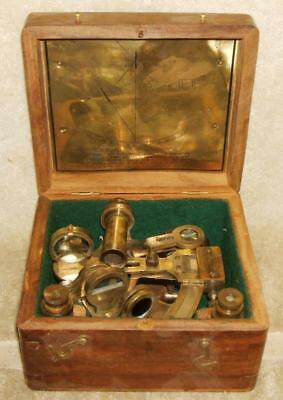 Antique Kevin & Hughes London Nautical Sextant in Original Wood Box