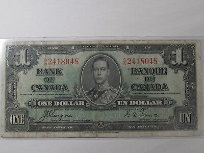 1937 Canada $1 Note. BC-21d George VI, Coyne/Towers. Serial # D/N 2418048.  #24
