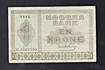 1948 Denmark  NORGES BANK En KRONE  Note Currency