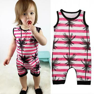 Summer Fashion Baby Boys Girls Coconut Palm Long Pants Holiday Romper Sunsuit
