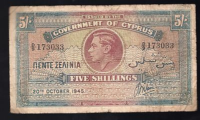 Cyprus King George VI Five Shillings Banknote 20th October 1945 Rare Currency