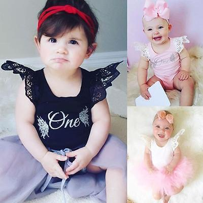 Toddler Baby Girls Boys Angel Wings Short Sleeve Romper Jumpsuit Letters Clothes