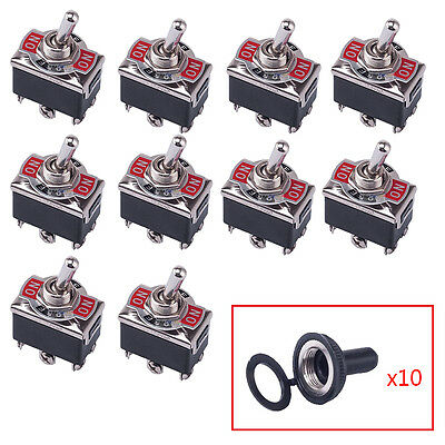 10x 25V/20A 3 Position 6 Terminal On/Off/On DPDT Toggle Switch w Waterproof Boot