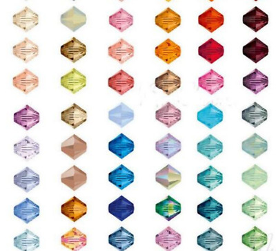 100pcs loose glass crystal bicone spacer beads 4mm AB Color