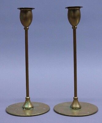 "Antique Brass ""jarvie"" Arts And Crafts Candlesticks"