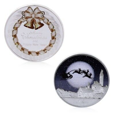 Silver Merry Christmas And Happy New Year Coins Commemorative Challenge Souvenir