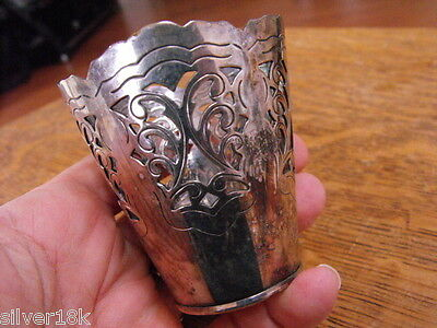 HANS JENSEN SILVERPLATE OPEN FRAME DESIGN MINI VASE DENMARK w FISH c1890-1921
