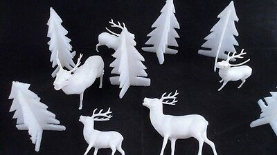 1950s Era 5 Irwin Hard Plastic White Reindeer Deer & 6 Styrofoam Winter Trees