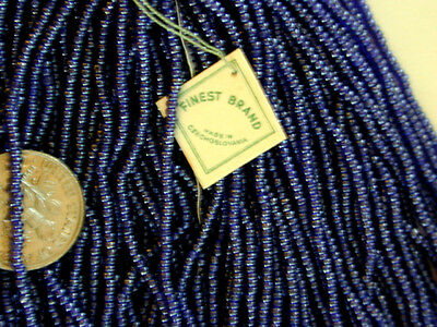 Vintage Antique Navy Blue RARE STUNNING COLOR Czech Glass Seed Beads Largr Hank