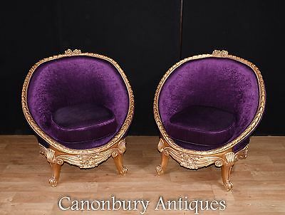 Pair French Empire Gilt Tub Seats Arm Chairs