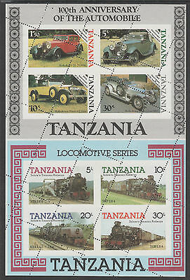 Tanzania 5071 - 1986 MOTORING  & 1985 RAILWAYS m/sheets se-tenant OBLIQUE  PERFS