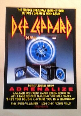 DEF LEPPARD 'Adrenalize'  UK Flyer/mini Poster 8X6 inches
