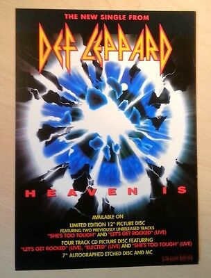 DEF LEPPARD 'Heaven Is' UK Flyer/mini Poster 8X6 inches