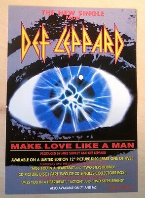 DEF LEPPARD 'Make Love Like A Man' UK Flyer/mini Poster 8X6 inches