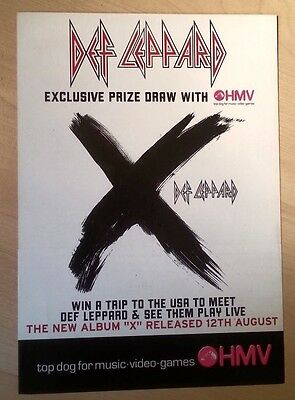 DEF LEPPARD 'X' 2-sided UK Flyer/mini Poster 8X6 inches