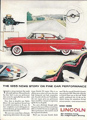 1955 Lincoln Car News Story On Fine Car Performance Ad