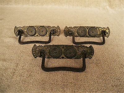 Antique Brass Ornate Stamped Plate Bail Pull Handle Drawer Hardware Lot Of 3